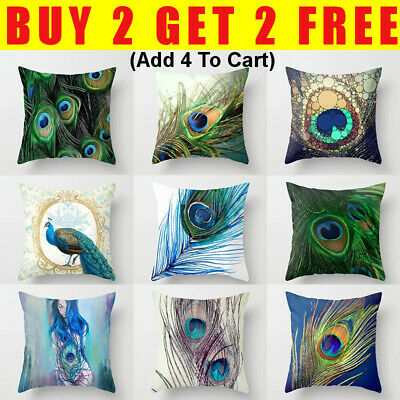 £4.99 • Buy 18  Square Peacock Feather Printing Throw Pillow Case Cushion Cover Pillowcover