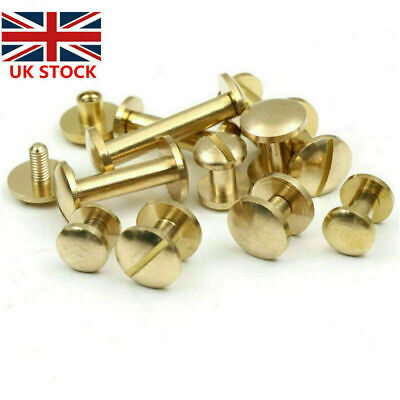 £4.39 • Buy 20 × Belt Screw Brass Rivets Stud Head Leather Craft Chicago Nail Wallet 4/6/8mm