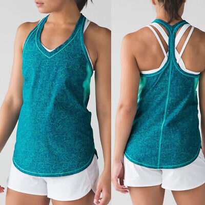 $ CDN30.17 • Buy Lululemon Fast Lane Singlet Foli Manifesto Bali Breeze Tank Top Size 4 Or 6 VEUC