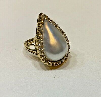 $1399 • Buy  Tear Drop Mabe Pearl W Diamond 14K Yellow Gold Cocktail Ring, Size 5.5, 8 Grams