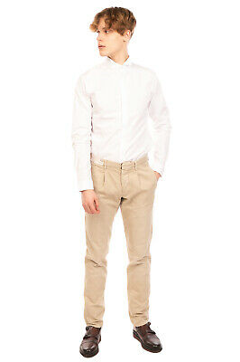 $ CDN1.69 • Buy RRP €200 INCOTEX Pleated Chino Trousers Size 33 Linen Blend Button Fly Slim Fit