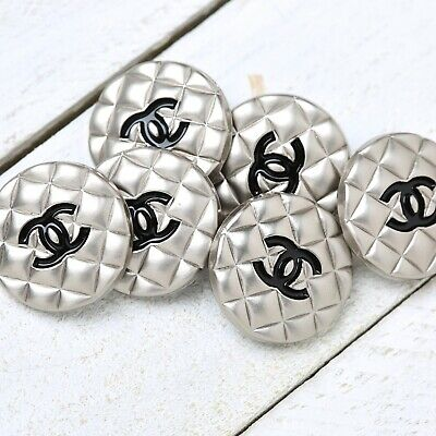 £37.81 • Buy Chanel Buttons 6pc CC 🖤 Silver 19.5 Mm Unstamped 6 Buttons AUTH!
