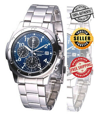$ CDN136.63 • Buy Seiko Chronograph SNDB37 SNDB37P1 Men Stainless Steel Blue Dial Watch