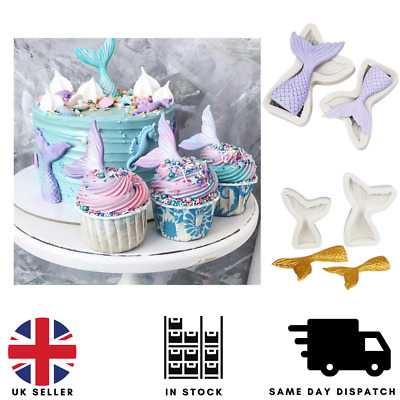 £3.25 • Buy Fairy Mermaid Tail Scale Silicone Fondant Mould Beach Animal Cake Icing Mold UK