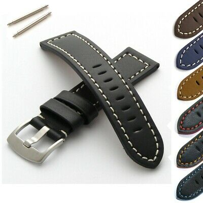 £14.95 • Buy Basel Watch Strap Genuine Leather Brushed Steel Buckle With Spring Bars