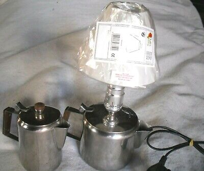 £29.95 • Buy Retro Stainless Steel Teapot Converted Into A Table Lamp,New Shade/Vintage Bulb.
