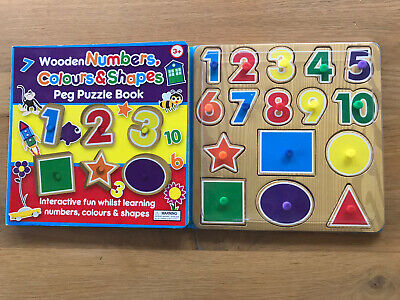 £6.99 • Buy Wooden Numbers Colours & Shapes Peg Puzzle Book Early Learning Fun