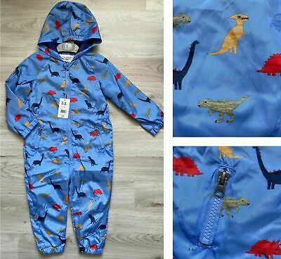 £13.99 • Buy BNWT Mothercare Baby Boys Blue Dinosaur Hooded All In One Puddle Suit  FREE P&P