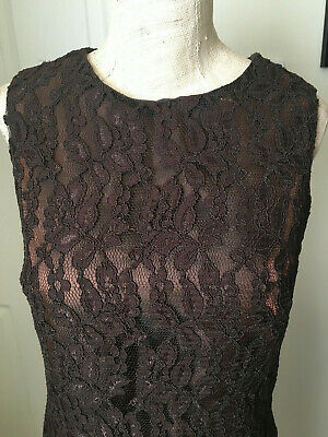 £5.99 • Buy CHARLOTTE HALTON Ladies Beautiful  Lined Lace Dress  Brown Size 10 Wedding/party