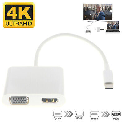 AU17.62 • Buy 2 IN 1 Type-C USB C To Female HUB HDMI VGA Cable Connector Display Adapter AU