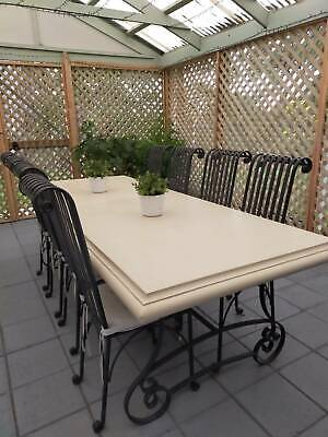 AU1000 • Buy French Provincial Concrete Dining Table With 8 Wrought Iron Chairs