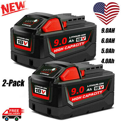 $25.99 • Buy 2X 9.0/6/5/4AH For Milwaukee M18 Lithium Extended Capacity XC Battery 48-11-1860