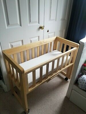 £25 • Buy USED! Troll Natural Birch Wood Bedside Dropside Cot/Crib With Mattresses