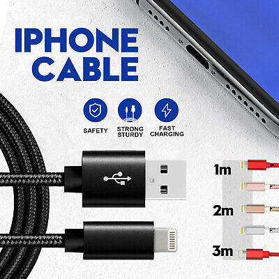 AU5.99 • Buy IPhone IPad IPod Air Charger Cable 1M 2M 3M Fast Charging Cord Data USB Apple
