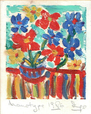 """$ CDN60.73 • Buy Old Hand Colored Monotype Linocut """"Flowers"""" Signed, 1986"""