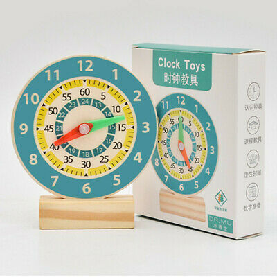£6.69 • Buy Kids Wooden Learning Clock Educational Early Learning Toys Children Gift