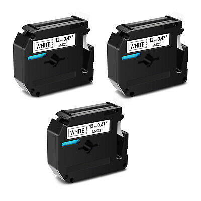 $17.71 • Buy 4PK Black On White Label Tape M-K231 MK-231 For Brother P-Touch PT-70/80/90 12mm