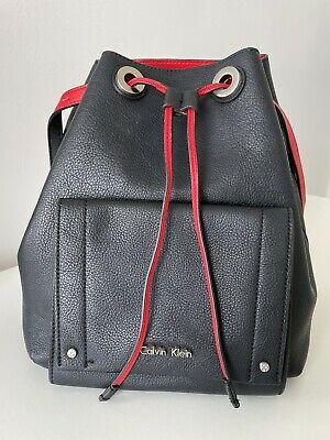 £15 • Buy Calvin Klein Black & Red Bucket Bag