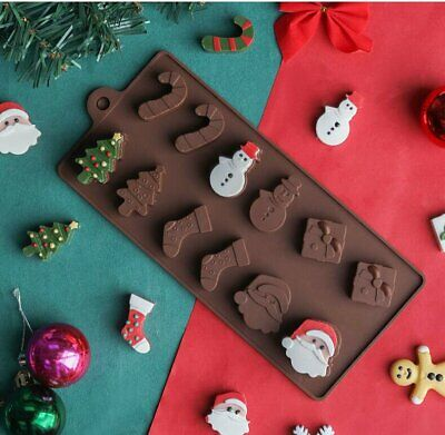 £2.39 • Buy Christmas Santa Chocolate Silicone 3D Mould Cake Tree Snowman Candy Baking Icing