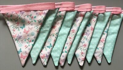 £9.50 • Buy Handmade Double Sided Butterfly Mint Green And Pink Bunting Girls Bedroom
