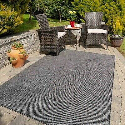 £19.95 • Buy NEW Charcoal Grey Outdoor Rugs Large Small Flatweave Garden Summer Mats Washable