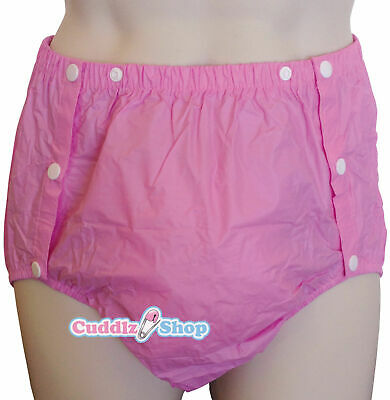 £12.99 • Buy Cuddlz Adult Size Pink Side Snap On PVC Plastic Pants Incontinence Briefs