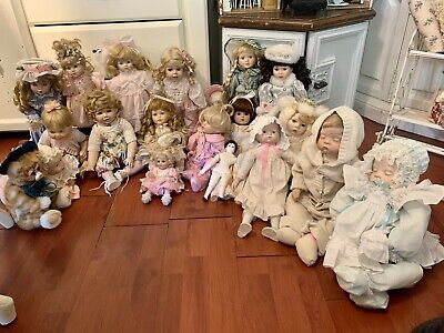 $ CDN121 • Buy Huge Lot Porcelain Dolls 20 Total Collection