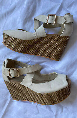 £3.99 • Buy River Island Cream Wedges Size 4 Sandals Shoes Heels Wedge Ivory Flatforms