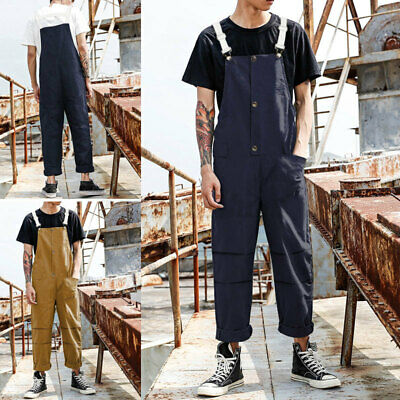 $25.06 • Buy Mens Strappy Fashion Cargo Dungarees Bib Pants Casual Hippie Overalls Jumpsuits
