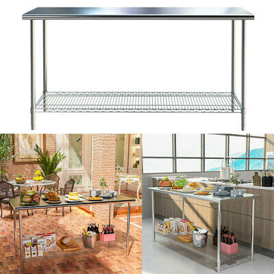 £79.95 • Buy Stainless Steel Commercial Kitchen Food Prep Work Table Bench Top W/ Mesh Shelf