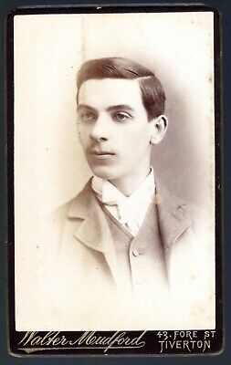 £1.20 • Buy Cabinet Card By Walter Mudford, Tiverton, Devon. Young Man. 10cm X 6cm. Sepia.