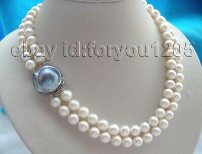 $169.99 • Buy 19  Double Natural 10mm White Round Pearl Necklace Mabe 925silver Clasp #f360!