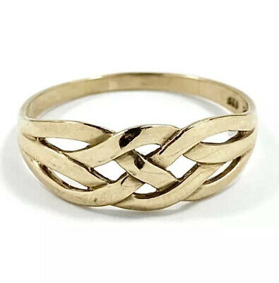 AU160 • Buy Solid 9ct 375 Yellow Gold Celtic Weave Pattern Ring Size R