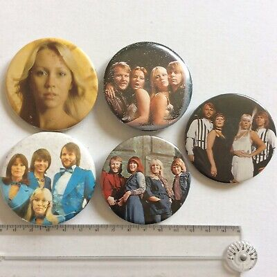 £15 • Buy 5 X Vintage 55mm ABBA Pin Badges Button POP Eurovision Party MAMA MIA MUSIC