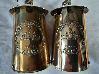 £19 • Buy A Pair Of Protector Miners Lamp Type 6 Brass Bonnets