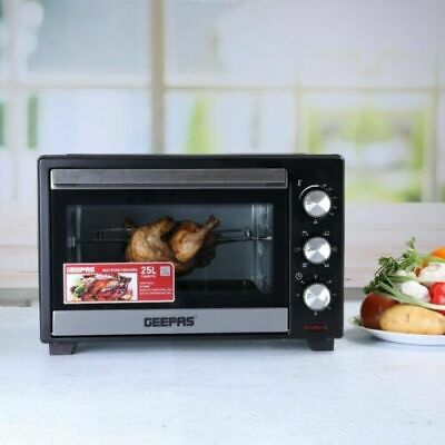 £58.99 • Buy Geepas 25L Mini Oven Grill & Rotisserie Wire Rack Compact Powerful Cooker