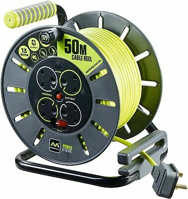£39.99 • Buy MasterPlug 25m-50m Socket Cable Reel Extension Lead 4 Gang Cassette Electrical