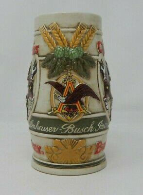 $ CDN116.64 • Buy 1981 Budweiser Holiday Clydesdale Beer Stein Mug Snow Covered Birch Trees Horses