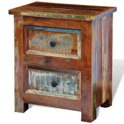 AU196.99 • Buy VidaXL Solid Reclaimed Wood Nightstand With 2 Drawers Cabinet Side End Table