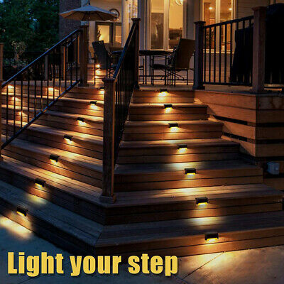 £8.49 • Buy 4-12Pcs LED Solar Fence Lights Wall Step Stairs Light Path Garden Lamp Patio UK+