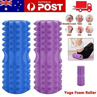 AU16.99 • Buy EVA Grid Foam Roller PVC Yoga Pilates Back Gym Exercise Hard Massage Training AU