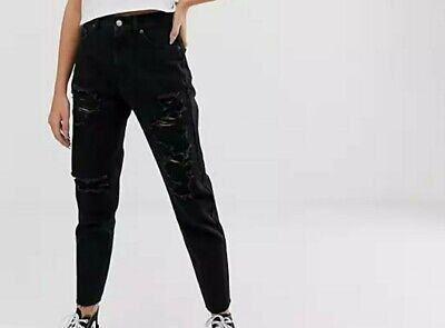 £16 • Buy Black Pull & Bear Ripped Mom Jeans, Euro 42 UK Size 14. New Without Tags
