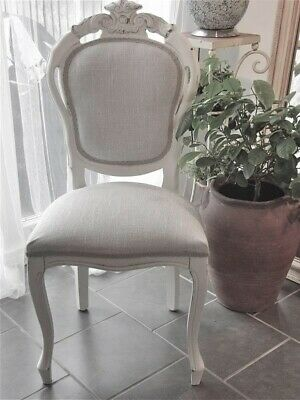 £135 • Buy Shabby Chic Painted Dining Chair In Natural Linen