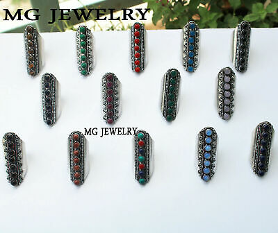 $ CDN120.98 • Buy 30 Pcs Lot 925 Sterling Silver Plated Mix 7 Gemstone Adjustable Rings