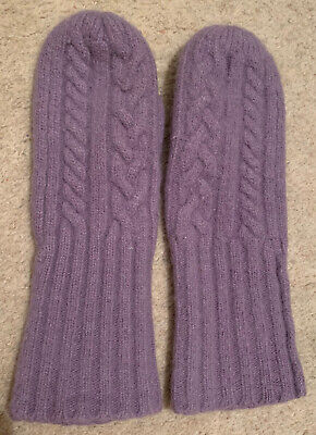 £0.99 • Buy Purple Cable Knit Mittens Gloves