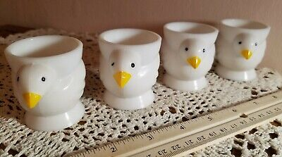$29 • Buy Four Vintage Opalex France White Milk Glass Chicken Chick Egg Cups. Mint