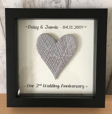 £18.95 • Buy 2nd Wedding Anniversary COTTON Frame Grey Heart Personalised Gift - Black Frame