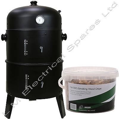 £48.99 • Buy 3 In 1 BBQ Charcoal Grill Barbecue Smoker & FREE Oak Smoking Wood Chips 3 Litre