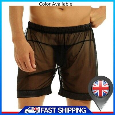 £2.99 • Buy Mens Sexy Trunks Mesh See-through Boxers Briefs Underwear Lingerie Shorts Black