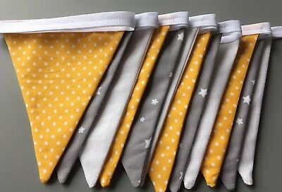 £9.50 • Buy Handmade Double Sided Nursery Grey White Yellow Stars And Spots Bunting